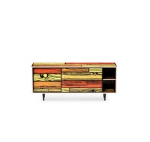 WRONGWOODS L1500 low cabinet red with yellow R Woods and S Wrong c2007 Establishedand Sons c Peter Guenzel NEW WB 72dpi