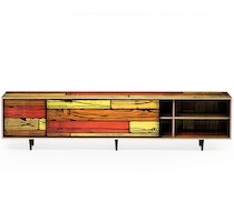 WRONGWOODS L2600 low cabinet red with yellow R Woods and S Wrong c2007 Establishedand Sons c Peter Guenzel NEW WB 72dpi