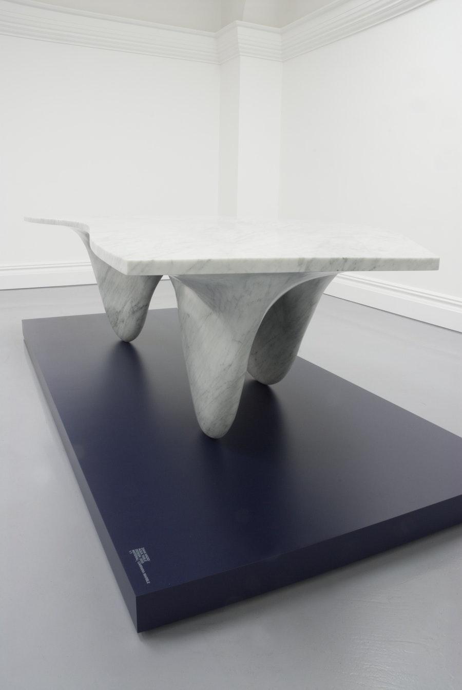 Zaha Hadid AQUA TABLE Carrara Marble Limited Edition 1 of 1 c2007 Establishedand Sons c O Flaherty All Rights Reserved exhibition 04 300dpi