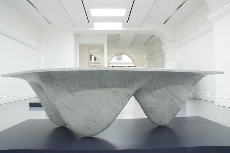 Zaha Hadid AQUA TABLE Carrara Marble Limited Edition 1 of 1 c2007 Establishedand Sons c O Flaherty All Rights Reserved exhibition 07 300dpi